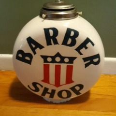 Rare One Piece Etched Chimney Cap Barber Shop Globe!
