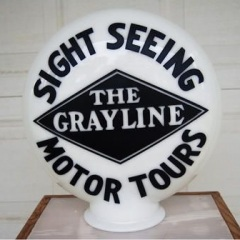 Rare Grayline Sight Seeing Motor Tours One Piece Etched Globe