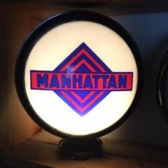 Very Rare Manhattan Metal Frame Gas Globe!