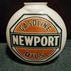 Newport Oil Company Canopy One Piece Gas Globe