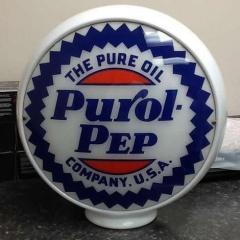 "Scarce Purol Pep 13.5"" Gas Globe"