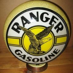 Rare Ranger Yellow Ripple Gill Glass Gas Globe