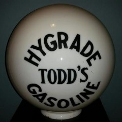Very Rare Todd's One Piece Etched Sphere Gas Globe