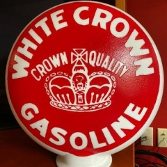 Only Known White Crown One Piece Etched Gas Globe